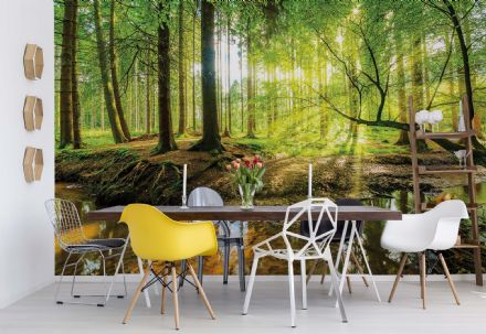 Green forest Scene non-woven wallpaper